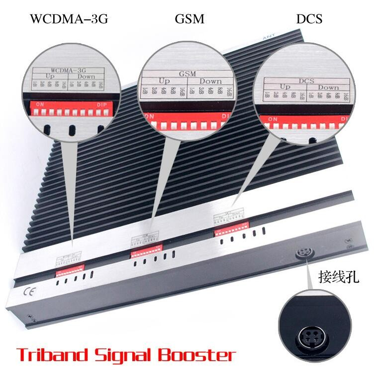 2G3G 4G network booster, tri band repeater gsm dcs 3g mobile signal booster amplifier