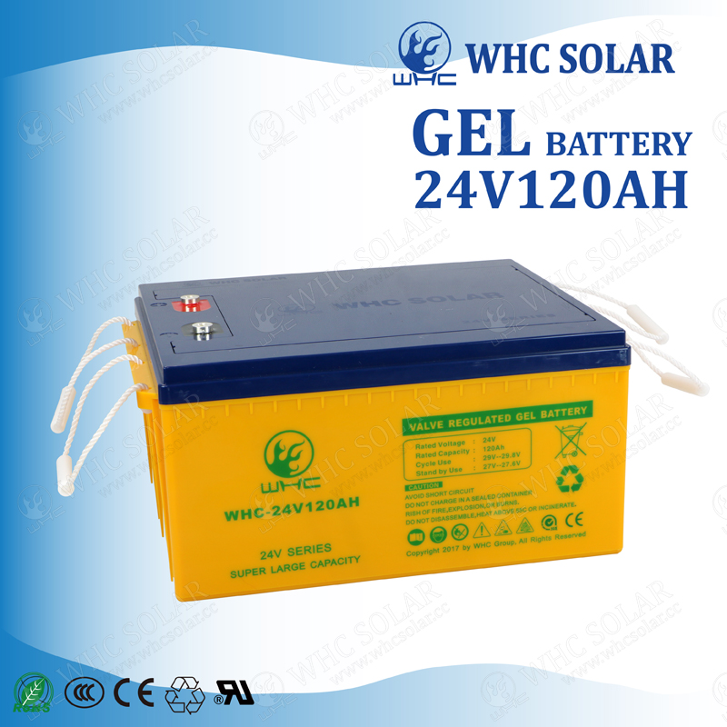 Deep Cycle Gel 24V 120AH Rechargeable Solar Battery for Storage