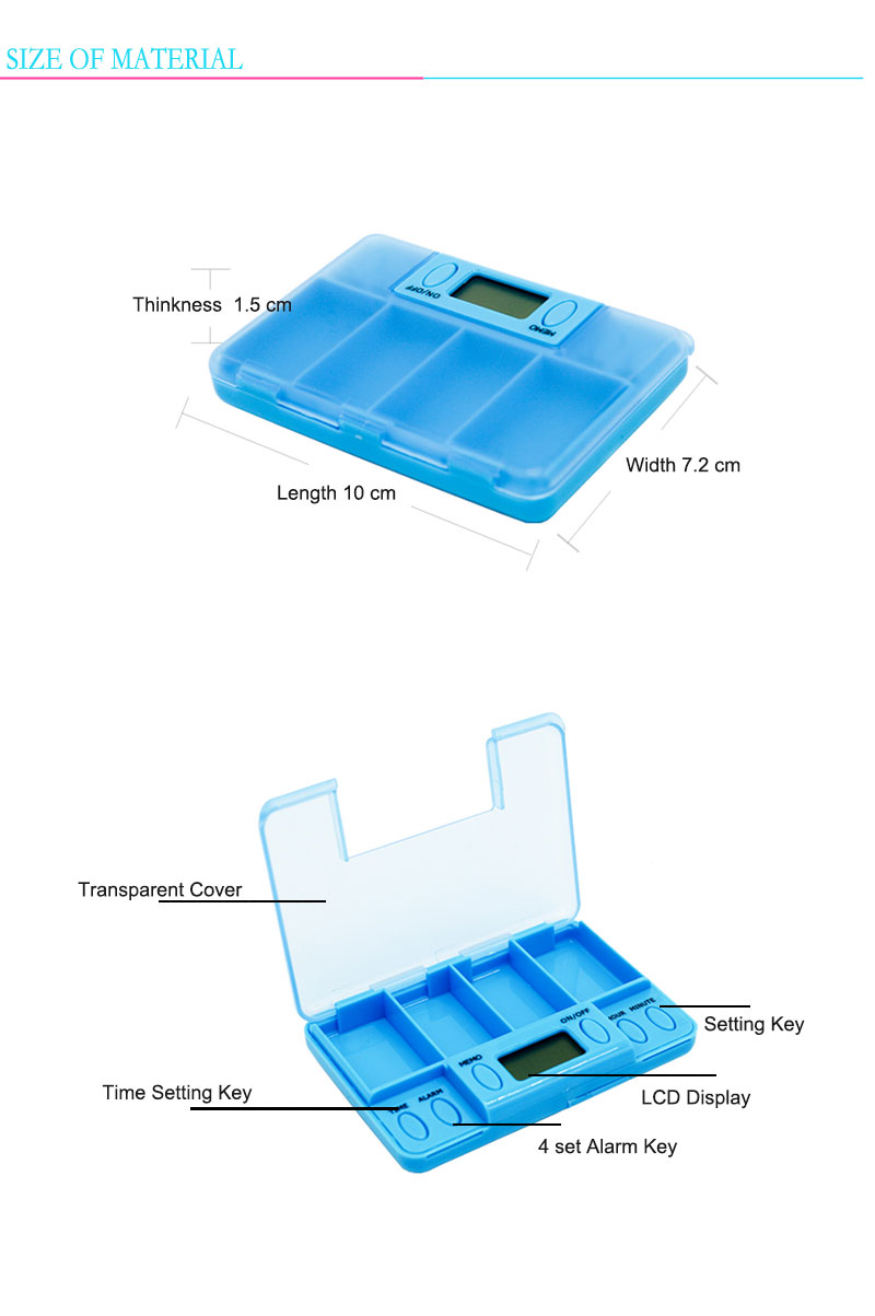 High quality ABS material Pill box Alarm with timer with food grade plastic