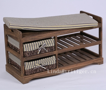 Wooden Shoe Rack Storage Bench Removable Cushion And 2 Rattan Basket