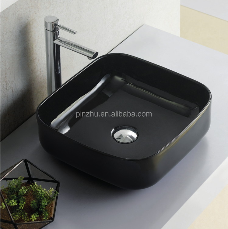 venta caliente square encimera lavabo de cermica negro - Lavabos De Diseo