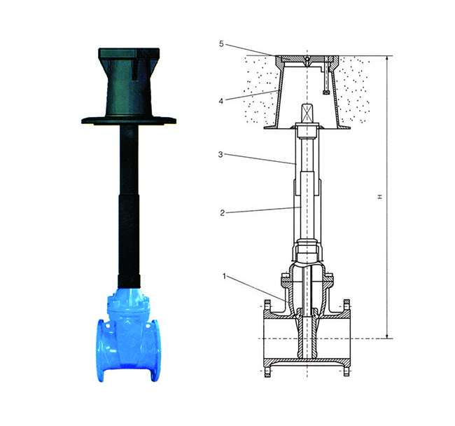 Resilient Seated Buried Gate Valve With Extension Spindle