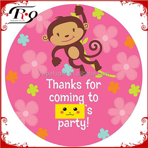 baby shower supplies flower monkey personalized party stickers