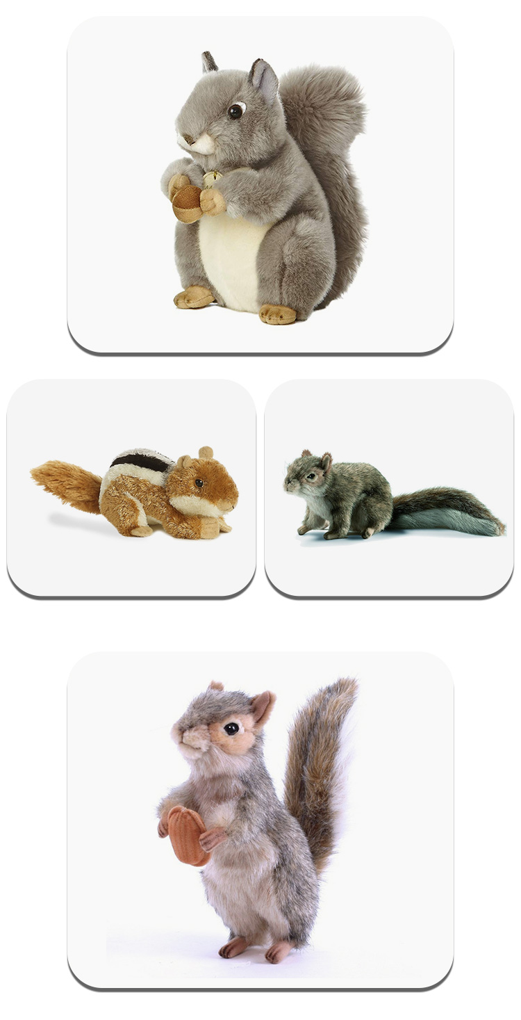 "OEM/ODM Customize Wholesale Animals Stuffed Toys Miyoni Grey Squirrel 8"" Plush"