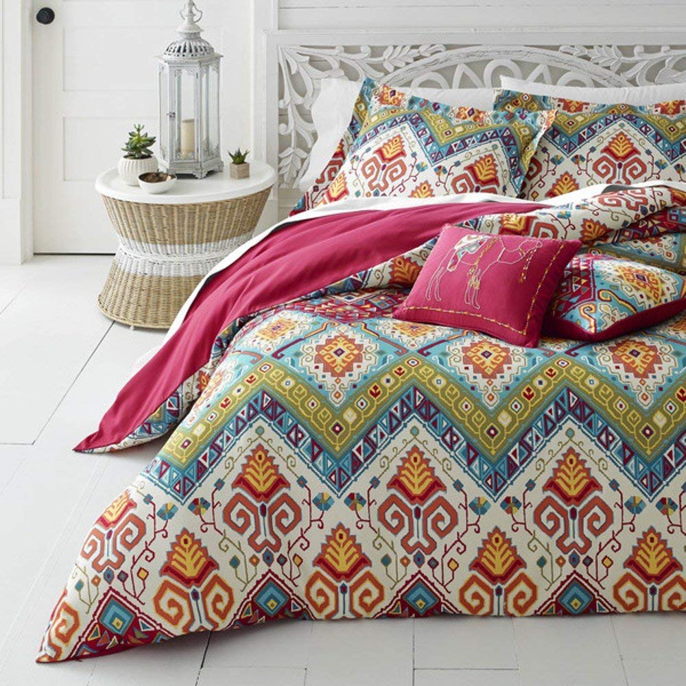 D&H 5 Piece Medallian Themed Comforter King Set, Beautiful Bohemian Hippie Boho Chic Stylish Bedding, Pretty All Over Abstract Motif Pattern, Multi Color Hippy Print, Pink Blue Green Orange Red