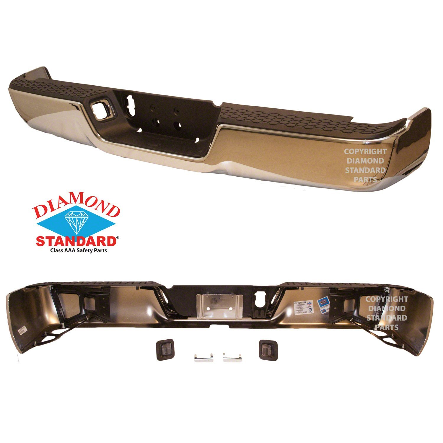 Crash Parts Plus CAPA CH1103117 Rear Bumper Assembly for Dodge Ram, Ram 1500, 2500, 3500, New Six