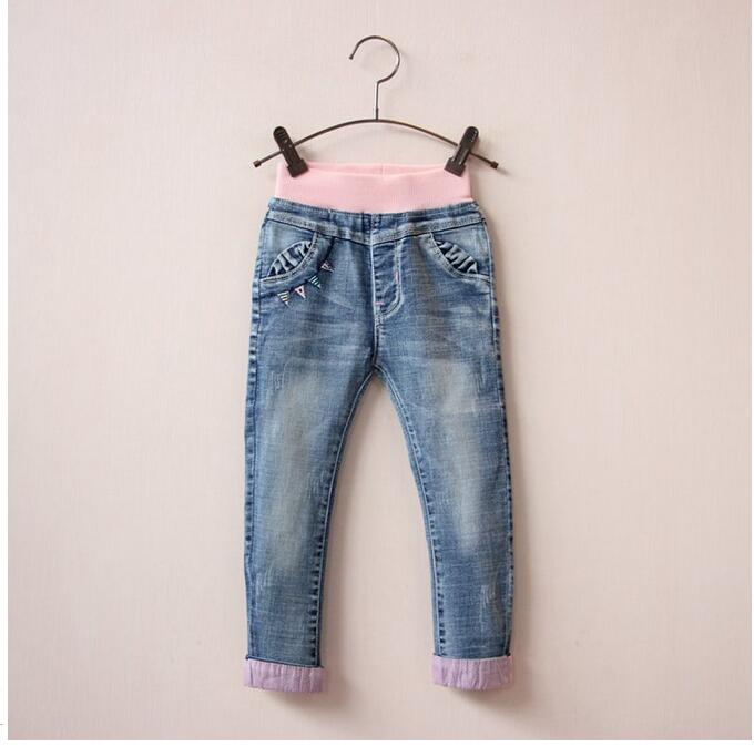 9c6f544028bf1 30956239 Wholesale 2016 New Fashion Baby Girls Jeans Solid Embroidery Cuffs  Girls Pants Jeams Children's Clothing Supplier Lots