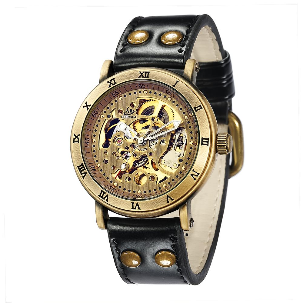 SHENHUA 9584 Men Automatic Mechanical Watch New Products Leather Strap Classic Male Wristwatches, 2 colors for choise