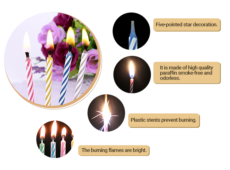 Cake Decorative Paraffin Color Flame Candle Price