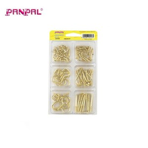 China Manufacture 64PCS Brass Plated Screw Cup Hook