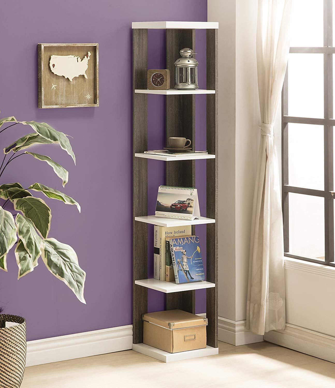 Weathered Grey and White Finish 2-Tone Wood Wall Corner 5-Tier Bookshelf Bookcase