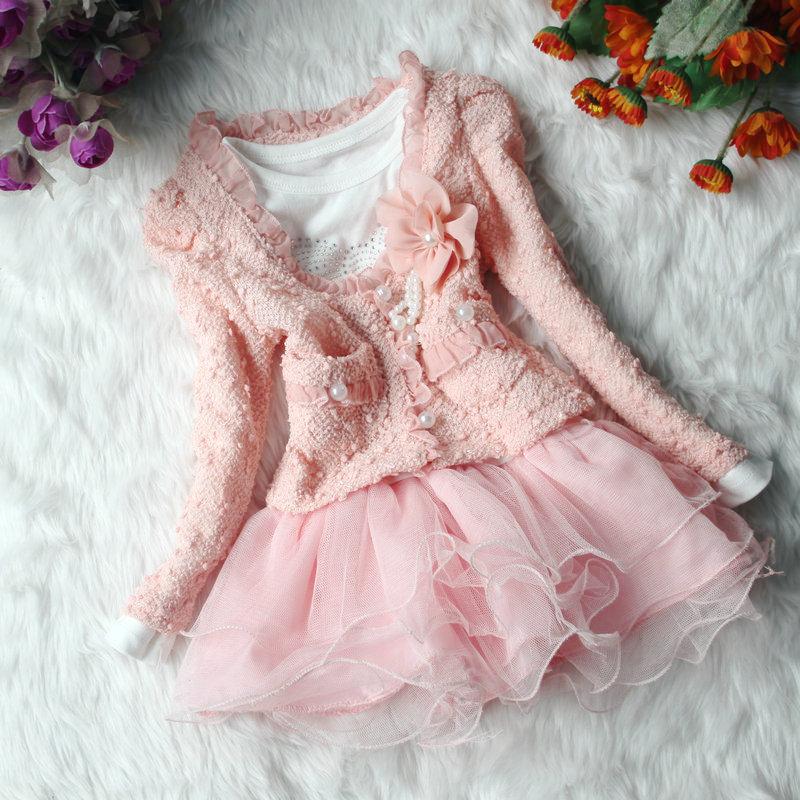 Roupas Infantil Meninas Kids Clothing Sets Thunder Long Sleeve Children Girls Suit Flower Princess Dresses Party