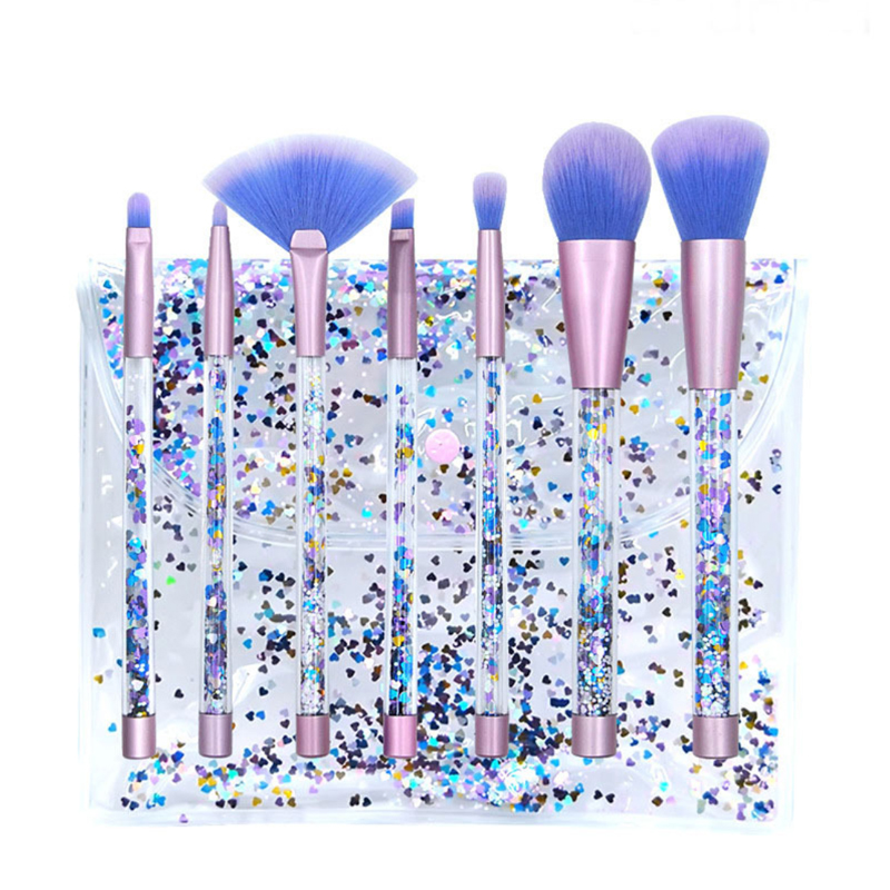 7 stks Diamant Kristal Handvat Beauty Up Kwasten Set Cosmetische Blush Oogschaduw Lip Blend Make Up Brush Tool Kit maquiagem