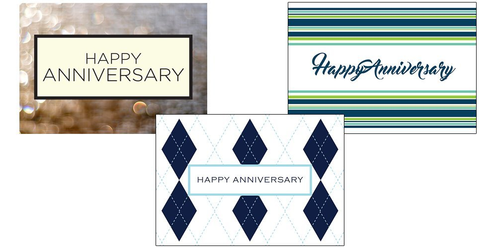 Anniversary Greeting Card Assortment - VP1602. Business Greeting Cards Featuring Three Different Anniversary Greeting Cards. Box Set Has 25 Greeting Cards and 26 Bright White Envelopes.