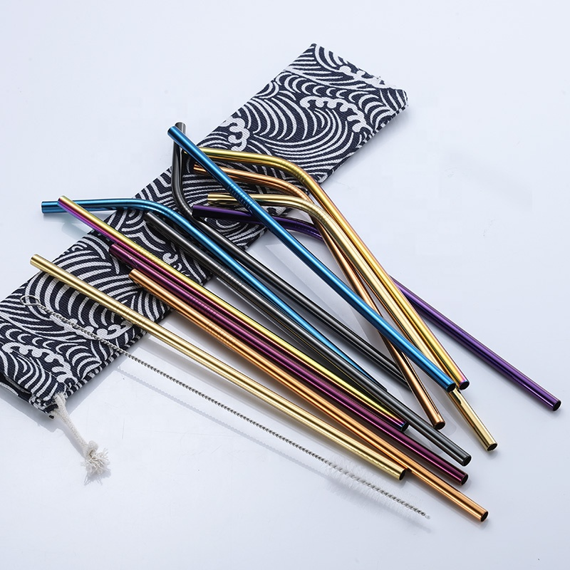 Custom logo wholesale stainless steel 304 reusable metal rose gold straws, rainbow drinking straws with brush and pouch