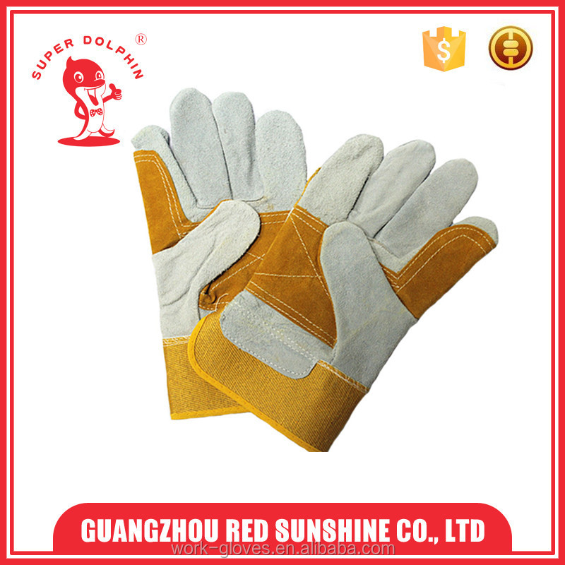 Yellow welding Job protection gloves hand cow leather gloves index finger