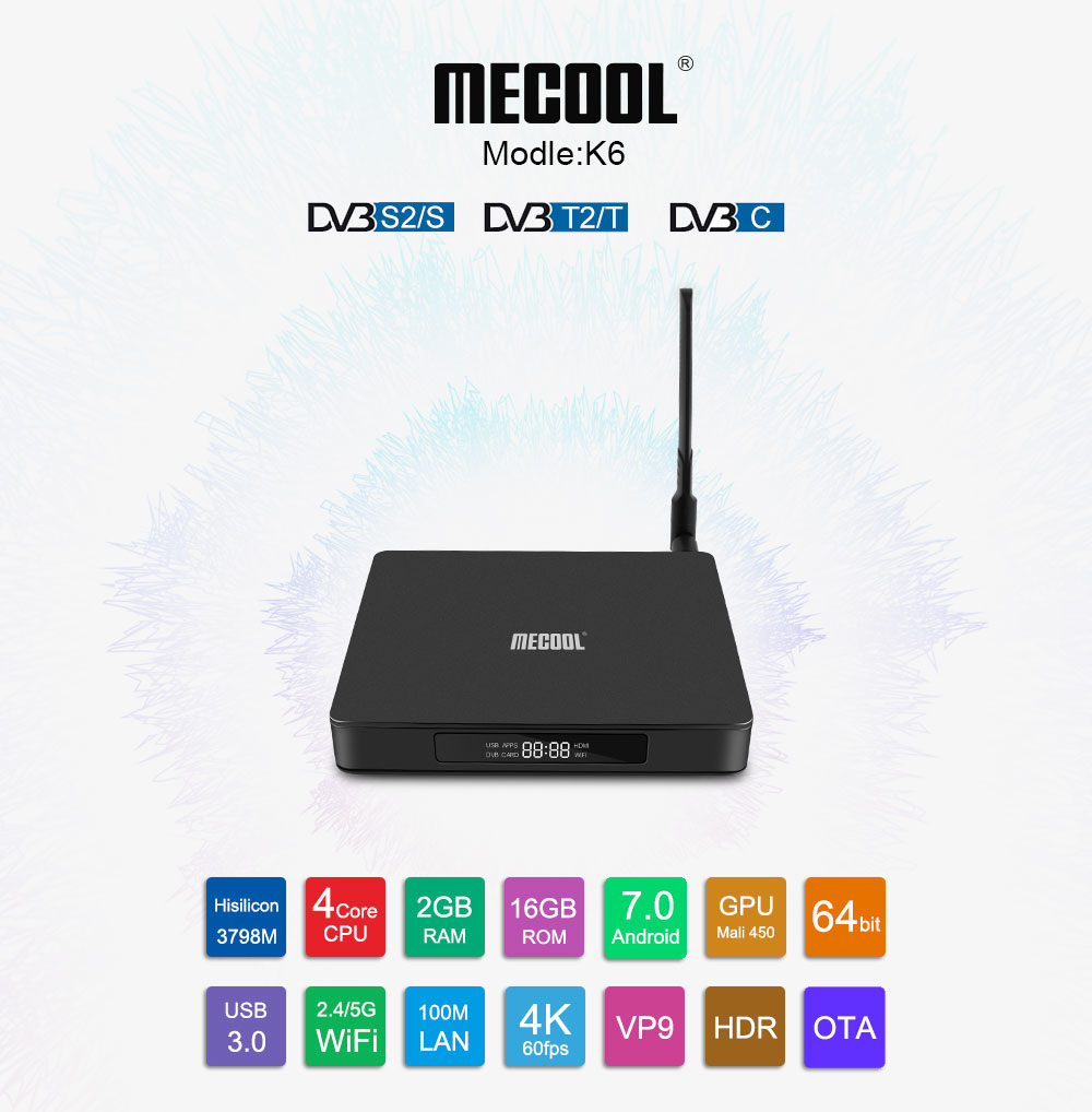 Newest MECOOL Good Quality Hisilicon Hi3798m K6 S2 T2/C Android 7.0 TV Box
