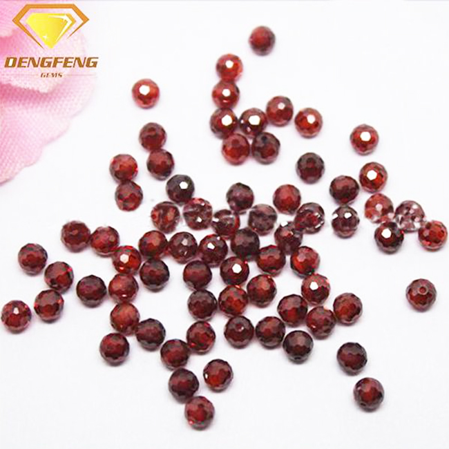 Round Faceted Balls Synthetic 8# Ruby Beads