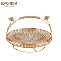 P82703 FASHION DESIGN GOLDEN GLASS FRUIT TRAY OF TEMPERED GLASS FOR WEDDING