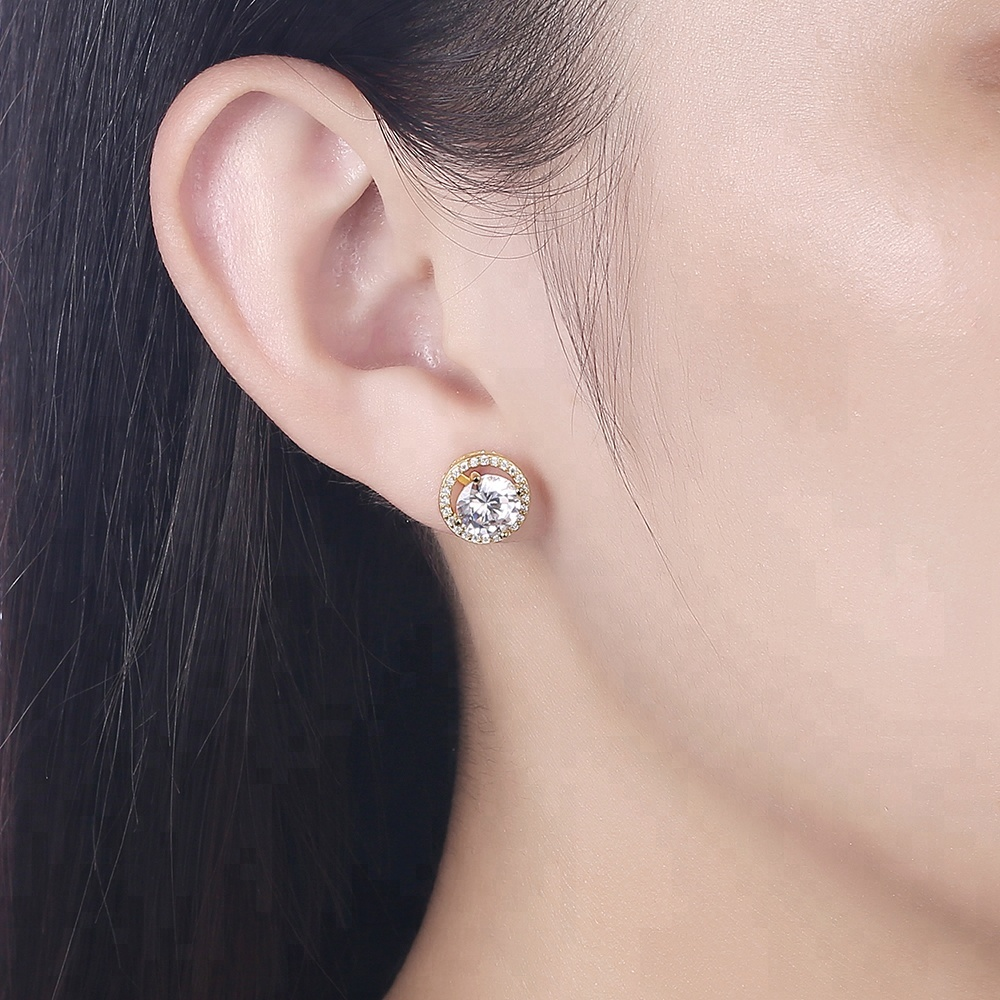 2She High Quality Two in One Gold plated Custom 925 Silver cz earrings women jewelry