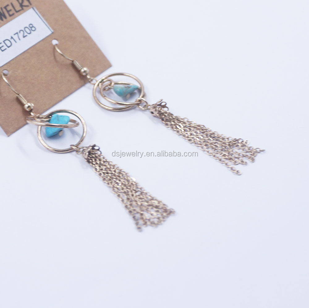 New design single stone gold stud thread tassle earrings