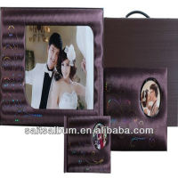purple leather album cover with handle case and frame album