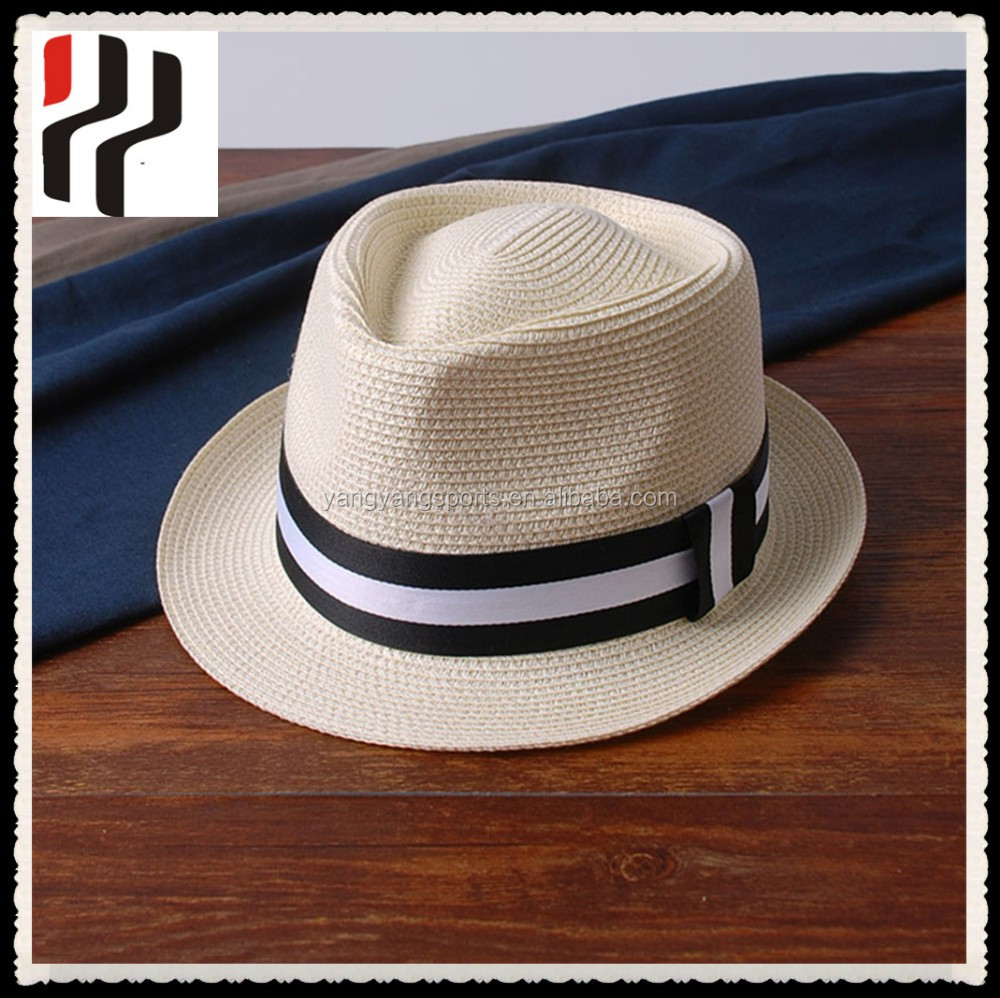 d21a70aef40 Custom paper straw hat fashion panama hat mens summer sun hat wholesale