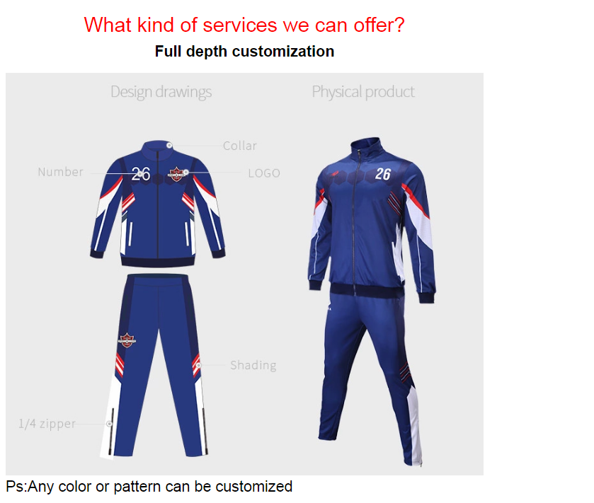 Latest custom 100% polyester Sports Training Soccer Tracksuit For Men