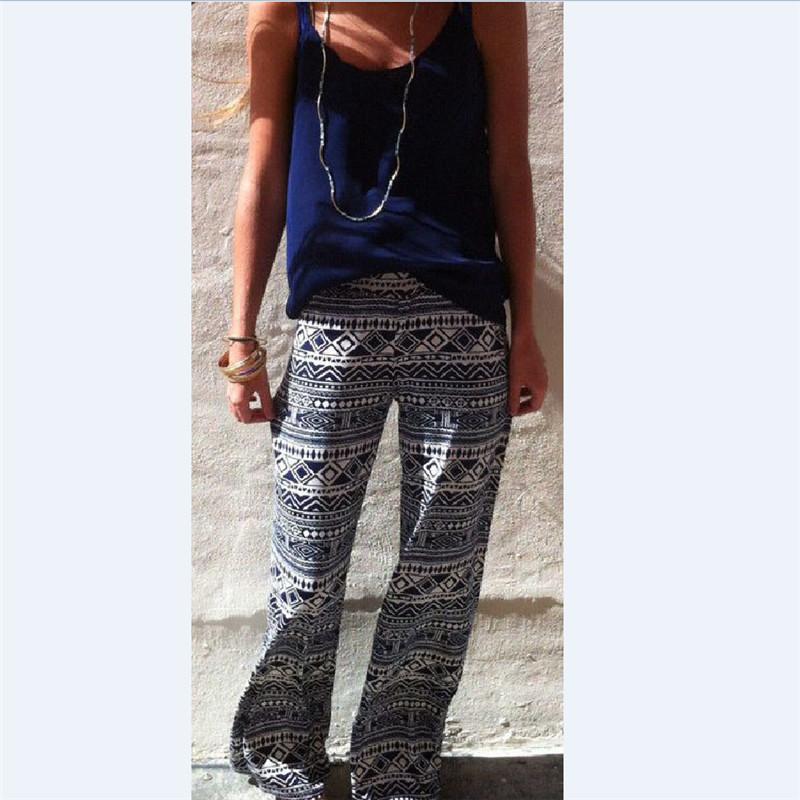 Мода женщин свободного покроя стрейч брюки широкого покроя штаны богемия длинные широкий палаццо брюки
