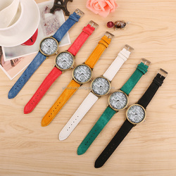 promotion express vintage newpaper printed retro jean leather western quartz watch