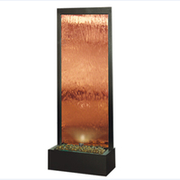 Exterior artificial wall glass indoor waterfall fountain , bronze mirror waterfalls for house
