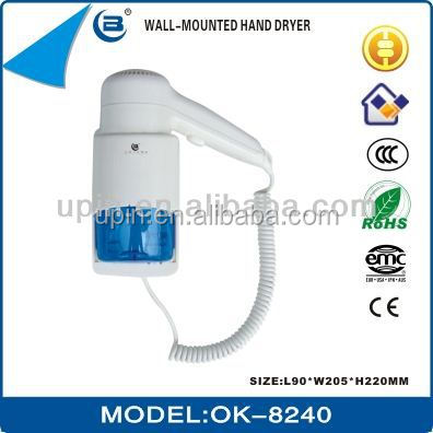 Hotel Bathroom Professional Wall Mounted Hair Dryer with Shaver Socket