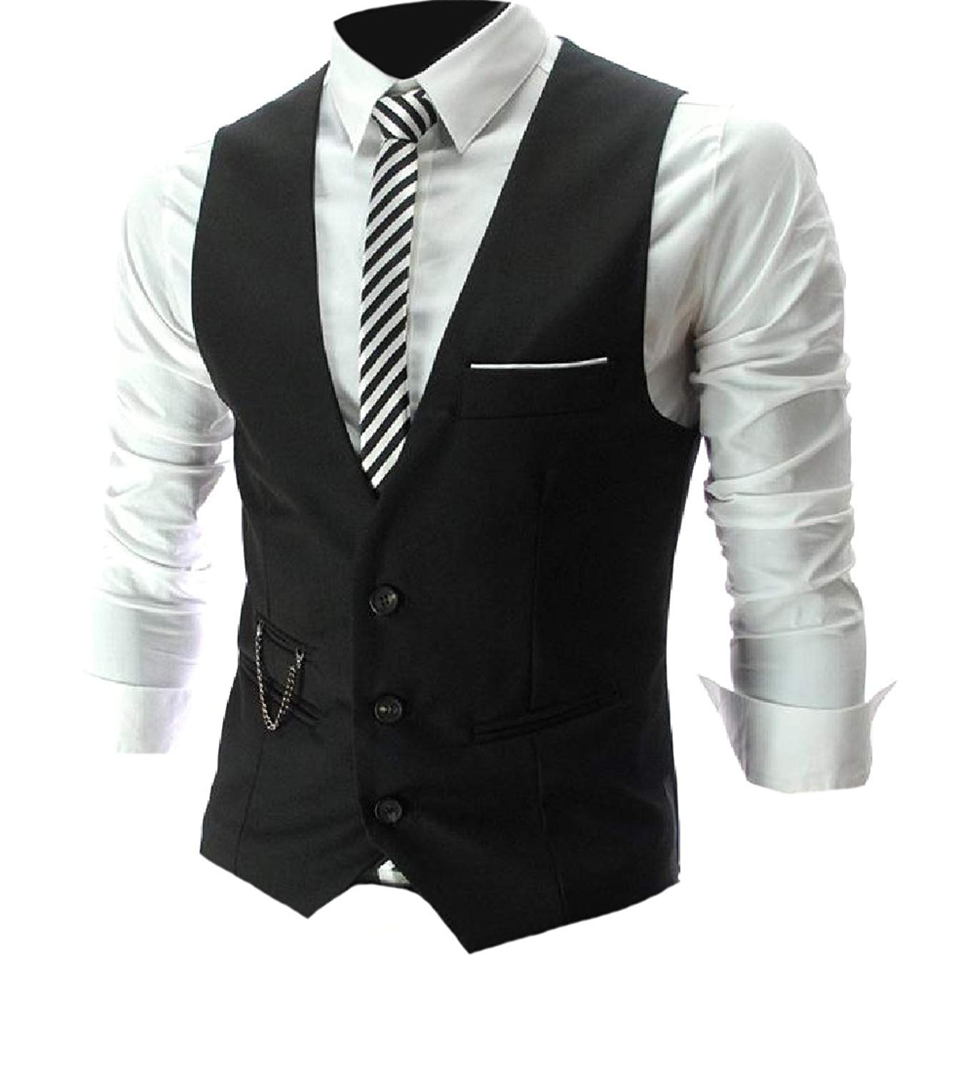 d9aab5d5acc Get Quotations · Fseason-Men No-Iron Button Front Slim Cut Suit Vest with  Metal Chain