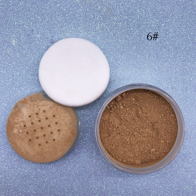 6 Colors Waterproof Foundation Highlighter Face Makeup Loose Powder with Powder Puff