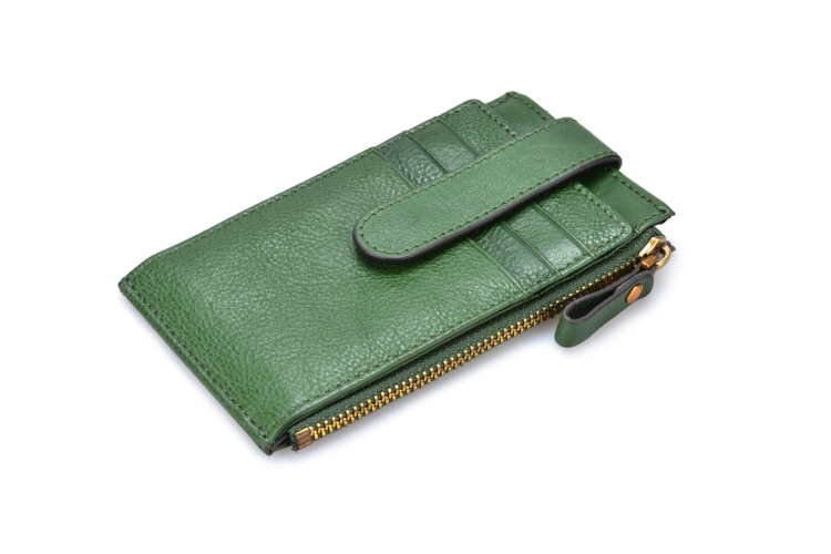 Womens RFID Blocking Green Genuine Leather Multi Credit Card Holder Wallet with Zipper Pocket