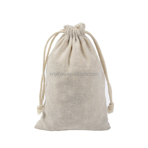 Eco-friendly Plain Cotton Burlap Drawstring Rice Tea Packaging Organizer Bag