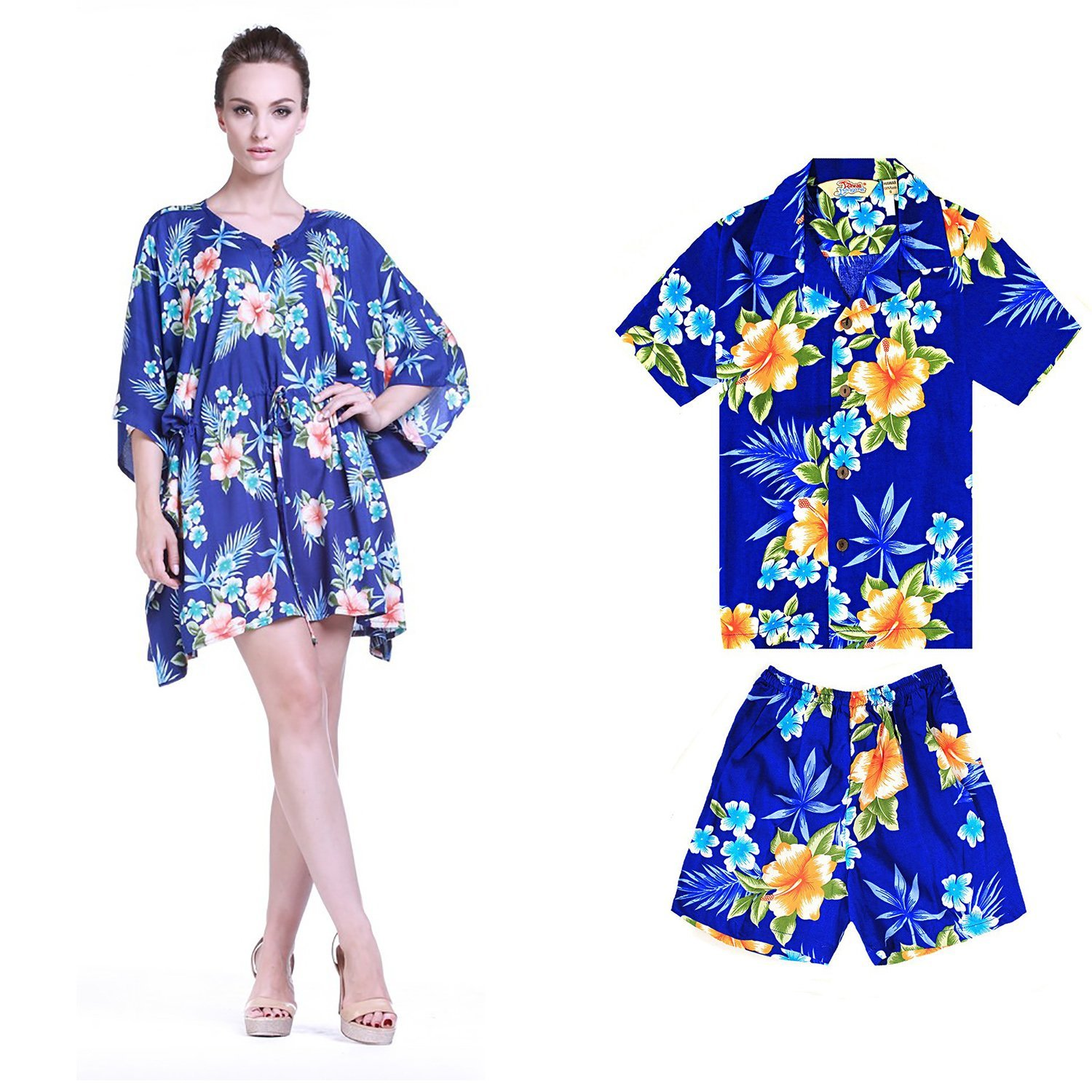b95fc9536928 Get Quotations · Hawaii Hangover Matching Mother Son Hawaiian Luau Outfit  Poncho Dress Shirt In Hibiscus Pattern In 2