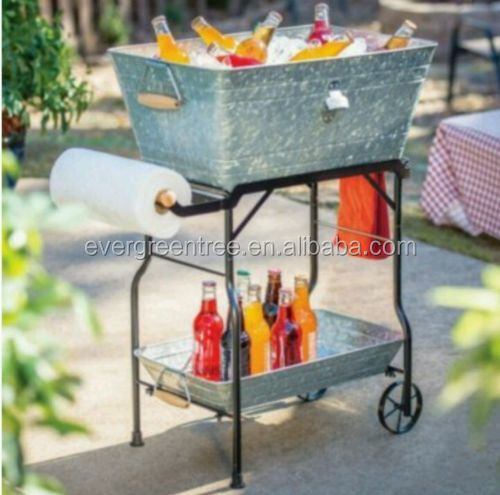 Galvanized Metal Beverage Tub with Rolling Cart and Tray, Phosphating effect/Distressed finish