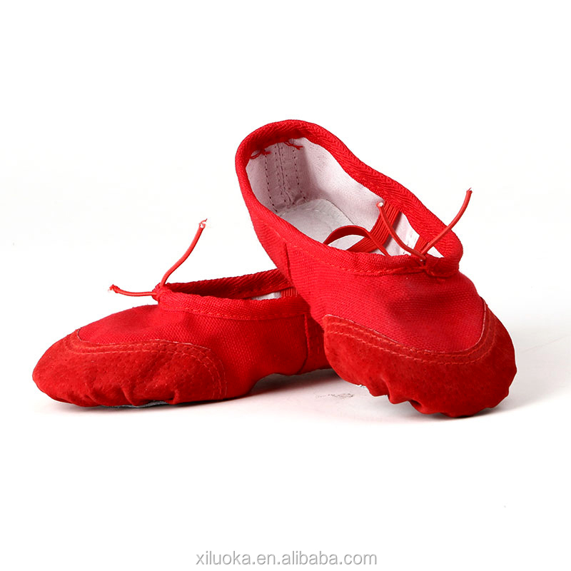 Hot sale children canvas dance shoes girls footwear ballet shoe