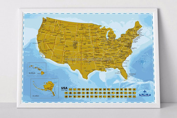 2017 Deluxe Scratch Off Usa Map Travel Tracker Map Hot Selling - Buy ...