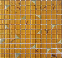 square yellow crystal glass mosaic tile