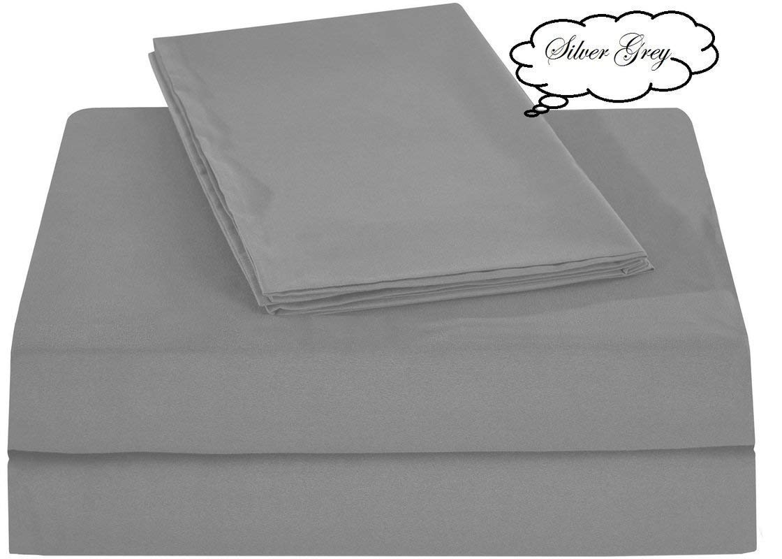 """Luxury Sheets! Silver Grey Solid 4 Piece King Bed Sheet Set 100% Egyptian Cotton, Sateen Solid, Deep Pocket- Fits Mattresses 8-15"""" Inches Thick"""