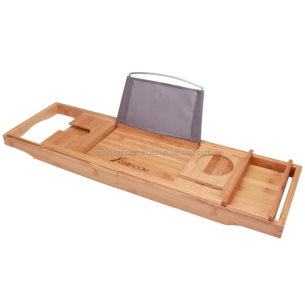 Cozroom Luxury Bamboo Bathtub Caddy with Adjustable Sides – Ideal ...