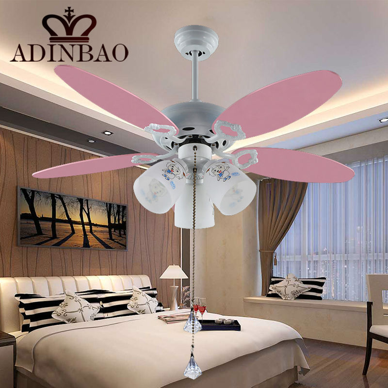 Rosa lindo ventilador de techo con luz para la habitaci n infantil 051 42 pulgadas l mparas y - Lampara de techo con ventilador ...