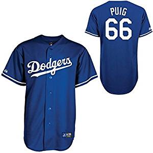 2fb662d5878 Get Quotations · Yasiel Puig  66 Los Angeles Dodgers MLB Youth Baseball  Jersey - Blue (Youth Small