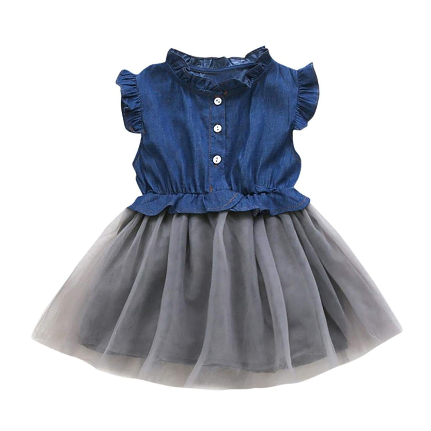 67bc1b518 Get Quotations · Baby Clothes Sets, Toddler Girls Denim Dress Sleeveless  Tutu Dress Cowboy Clothes by WOCACHI