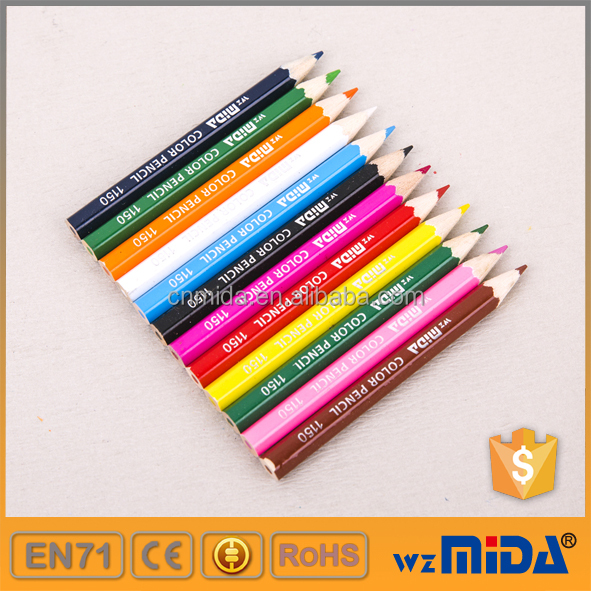 short mini 3.5 inch wooden colored pencils with paper carry barrel packing MD-1150