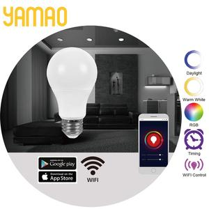 Yamao Tuya Module Smart WiFi A19 LED Light Bulb RGB Adjustable CCT 2700K-5000K Compatible with Alexa Google Assistant