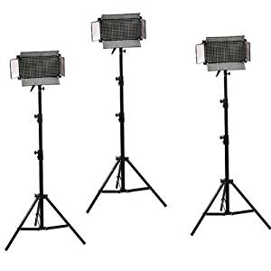 ePhoto ULS500LEDAx3 3 x Dimmable 500 LED Video Light Panel Professional Video Light Panel Studio Video Light Lighting LED Light Panel with Stand Combo Runs on 110v - 240v Power supply 12V Output