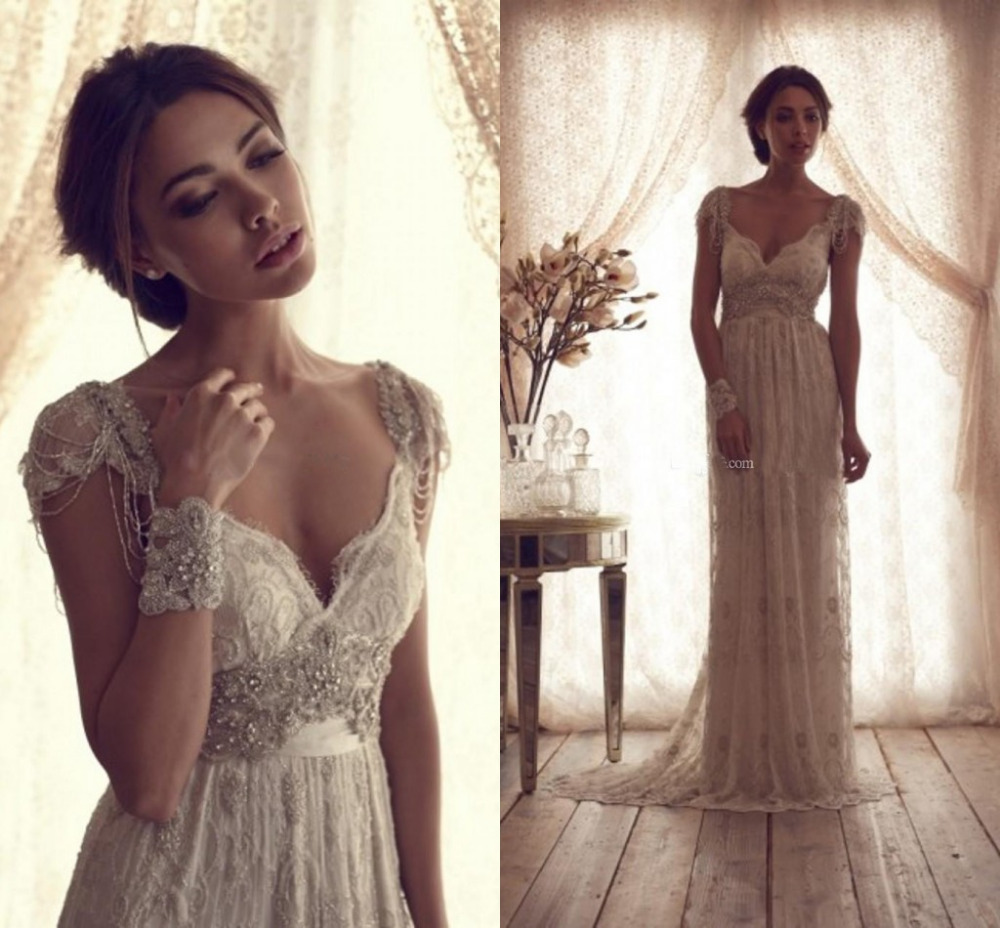 Vintage Style Lace Wedding Dresses: High Quality 2014 Vintage Wedding Dresses Sheer Anna